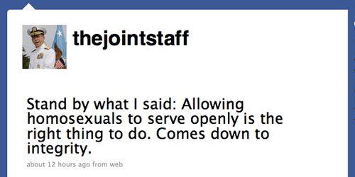 Adm mike mullen twitter tweet gays in the military