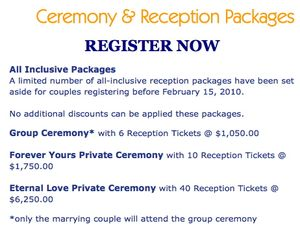 Event emissary mass wedding packages