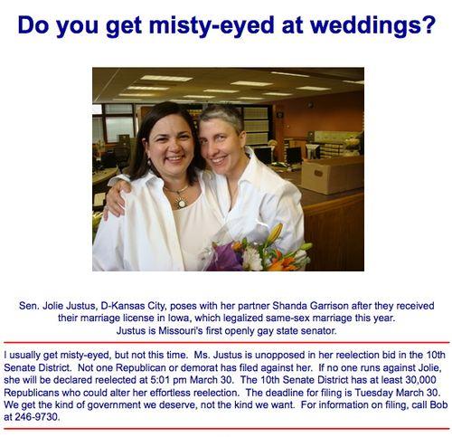 Jolie justus lesbian marriage flier bob gough kansas city greater pachyderm club